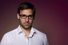 Ritratto del banchiere efficiente bello in occhiali Fotografia Stock Libera da Diritti