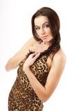 Ritratto del brunette della giovane donna. Fotografia Stock