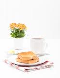 Ritratto del caffè e del pane tostato immagine stock