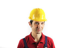 Ritratto del casco del meccanico fotografie stock