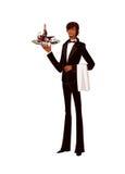 Ritratto del cassetto della holding del cameriere della bottiglia illustrazione vettoriale