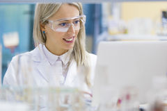 Ritratto del chimico che lavora in laboratorio Fotografia Stock Libera da Diritti