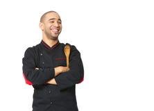 Ritratto del cuoco professionista afroamericano felice isolato immagine stock