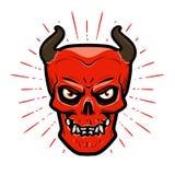 Ritratto del diavolo arrabbiato Halloween, satan, lucifer, inferno, simbolo di devilry illustrazione vettoriale