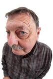Ritratto del fisheye dell'uomo anziano Immagine Stock