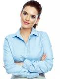 Ritratto del fondo bianco sicuro della donna di affari isolato fotografia stock libera da diritti