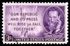 Ritratto del francobollo di U.S.A. di Joseph Pulitzer Fotografia Stock