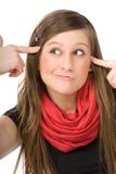 Ritratto del fronte della ragazza pazzesca Fotografia Stock