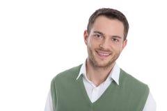 Ritratto del fronte isolato dell'uomo sorridente. Fotografia Stock Libera da Diritti