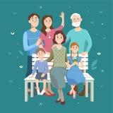 Ritratto del fumetto della famiglia Nonno, nonna, marito e moglie e due bambini dei nipoti Fotografia Stock Libera da Diritti
