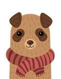 Ritratto del fumetto di un cane in una sciarpa Animale domestico stilizzato Le figure umane molto piccole trasformano la vita Vec illustrazione di stock