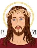 Ritratto del Gesù Cristo con Christogram Fotografia Stock Libera da Diritti