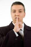 Ritratto del gestore che insegna per essere silenzioso Immagini Stock
