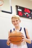 Ritratto del giocatore di pallacanestro maschio della High School Immagine Stock Libera da Diritti