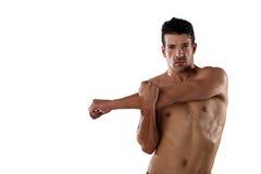 Ritratto del giocatore senza camicia del determind che allunga le mani Fotografia Stock