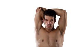 Ritratto del giocatore senza camicia risoluto di sport che allunga le mani Immagine Stock Libera da Diritti