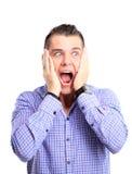 Ritratto del giovane con espressione facciale colpita Fotografia Stock