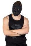 Ritratto del giovane nella maschera nera Fotografie Stock