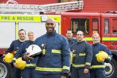 ritratto del gruppo dei pompieri Immagini Stock Libere da Diritti