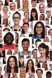 Ritratto del gruppo del collage del fondo di giovane p sorridente multirazziale Fotografia Stock Libera da Diritti