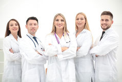 Ritratto del gruppo di colleghi sorridenti dell'ospedale che stanno togeth Immagine Stock Libera da Diritti