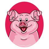 Ritratto del maiale su fondo bianco royalty illustrazione gratis