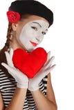 Ritratto del mime di giorno del biglietto di S. Valentino Fotografia Stock Libera da Diritti