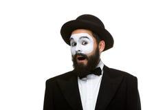 Ritratto del mimo sorpreso con la bocca aperta Fotografia Stock