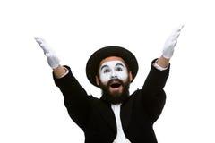 Ritratto del mimo sorpreso ed allegro con Fotografie Stock