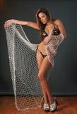 Ritratto del modello di modo grazioso del costume da bagno di Latina Fotografia Stock