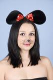 Ritratto del mouse della donna Immagine Stock Libera da Diritti