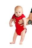 Ritratto del neonato anziano di due mesi in han del padre Fotografia Stock