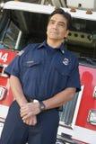 ritratto del pompiere del fuoco di motore Immagini Stock