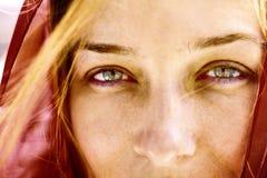Ritratto del primo piano della donna con i bei occhi Immagine Stock Libera da Diritti