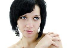 Ritratto del primo piano della donna del brunette Immagini Stock Libere da Diritti