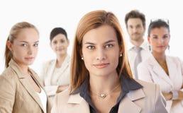 Ritratto del primo piano della donna di affari attraente Immagini Stock Libere da Diritti