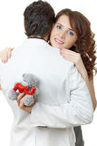 Ritratto del primo piano delle coppie attraenti che flirtano Fotografia Stock Libera da Diritti