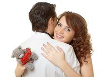 Ritratto del primo piano delle coppie attraenti che flirtano Fotografie Stock Libere da Diritti