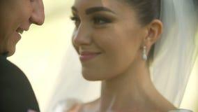 Ritratto del primo piano delle coppie felici della persona appena sposata Lo sposo sta bisbigliando qualcosa alla sposa sorrident video d archivio
