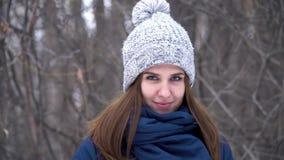 Ritratto del primo piano di bella giovane donna caucasica sorridente in rivestimento, cappello e sciarpa di inverno Legno nevoso  archivi video