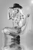 Ritratto del primo piano di bella ragazza del rodeo Fotografia Stock Libera da Diritti