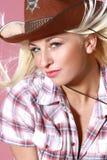 Ritratto del primo piano di bella ragazza del rodeo Fotografie Stock Libere da Diritti
