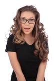 Ritratto del primo piano di bella ragazza sorpresa Fotografia Stock Libera da Diritti