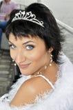 Ritratto del primo piano di bella sposa con la parte superiore Fotografia Stock