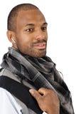 Ritratto del primo piano di bello uomo in sciarpa Fotografia Stock Libera da Diritti