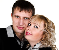 Ritratto del primo piano di giovane coppia felice Fotografia Stock