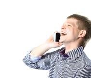Ritratto del primo piano di giovane uomo d'affari facendo uso del telefono cellulare Immagine Stock Libera da Diritti