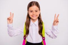 Ritratto del primo piano di lei lei doppio pre-teen ottimista di buon umore allegro adorabile accattivante attraente piacevole di immagine stock
