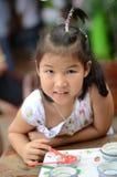 Ritratto del primo piano di piccola ragazza asiatica Fotografia Stock
