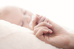 Ritratto del primo piano di sonno sveglio del neonato Immagine Stock